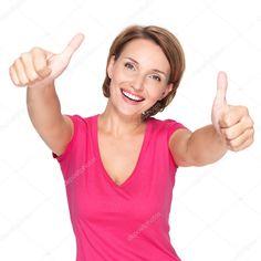 Скачайте стоковую фотографию Портрет красивый Взрослый Счастливые женщины с недурно знаком на белом фоне - 32640041 из многомилионной коллекции лицензионных фотографий, иллюстраций и векторных изображений Depositphotos.