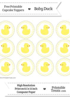 Free Pastel Light Yellow Chevron Baby Duck Cupcake Toppers