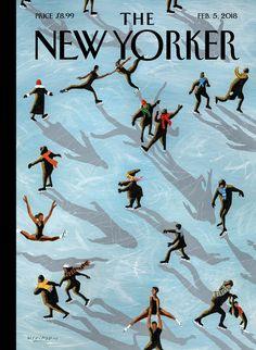 The New Yorker magazine February 5 2018 Figured Skaters The New Yorker, New Yorker Covers, Print Magazine, Magazine Art, Magazine Covers, Capas New Yorker, Thing 1, February 5, Framed Prints