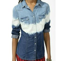 SALE~LAST DAY!!!   Dip-Dye Denim Shirt Lightweight. Long sleeves. Snap closures. 100% cotton. Forever 21 Tops