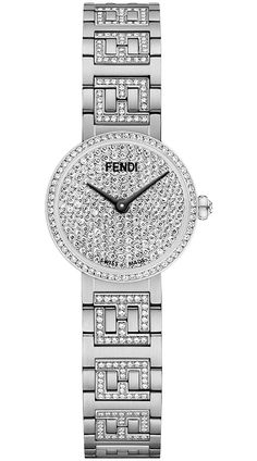 Limited Edition of 50 Pieces - Fendi Forever Stainless Steel Diamond Dial & Bracelet Women's Watch - Model - Brand New, Authentic, Original Packaging Brand Name Watches, Unique Watches, Gold Watches, Top Luxury Brands, Watch Model, Stainless Steel Case, Fendi, Jewelery, Jewelry Accessories