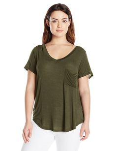 Paper + Tee Women's Plus-Size V Neck One Pocket Tee, Olive, 1X