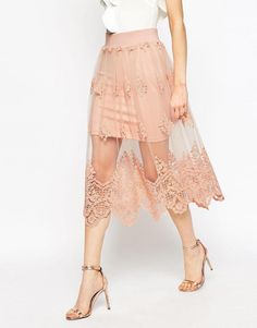 ☑️ ASOS | ASOS Prom Skirt in Embroidered Lace Mesh at ASOS