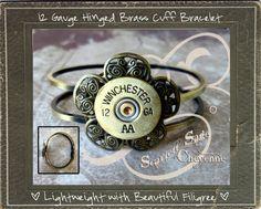 Bullet Jewelry Shotgun Casing Hinged Cuff Bracelet by ScarlettSage, $22.50 Shotgun Shell Jewelry, Ammo Jewelry, Bullet Jewelry, Diy Jewelry, Jewelry Bracelets, Handmade Jewelry, Jewelry Making, Unique Jewelry, Shotgun Shells
