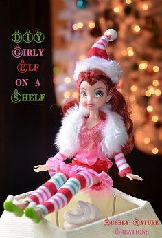 DIY girl elf on the shelf by angela. too cute idea! Christmas And New Year, All Things Christmas, Winter Christmas, Christmas Holidays, Christmas Crafts, Christmas Ideas, Christmas Fairy, Family Christmas, Handmade Christmas