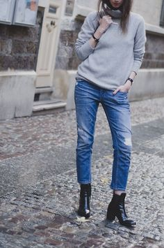 Simple and chic in a turtleneck, boyfriend jeans and Zara booties