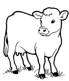 Healthy Milch Cow In Farm Animal Coloring Page