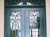 GlassCraft's Mahogany Entry Door with Palacio Decorative Glass - mediterranean - front doors - houston - by GlassCraft Door Company