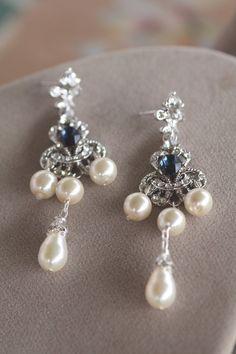 Bridal Earrings Crystal Swarovski Wedding Jewelry Bridal Pearl , Vintage Earrings, Pear Pearls Drop, Montana Blue, Something Blue by simplychic93 on Etsy