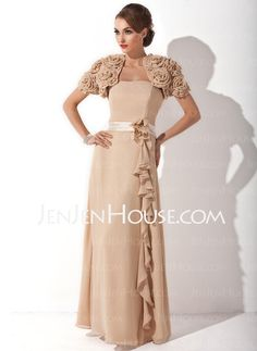 Mother of the Bride Dresses - $126.99 - Sheath Strapless Floor-Length Chiffon Charmeuse Mother of the Bride Dress With Sash (008006173) http://jenjenhouse.com/Sheath-Strapless-Floor-Length-Chiffon-Charmeuse-Mother-Of-The-Bride-Dress-With-Sash-008006173-g6173