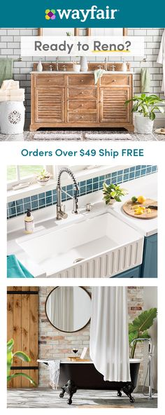 Ready to Reno? There's no need to buy a new house with these fantastic finds! Plus, enjoy FREE shipping on orders over $49. Farmhouse Chic, Farmhouse Design, Round Kitchen, Buying A New Home, Interior Design Kitchen, Living Room Designs, Home Remodeling, Kitchen Remodel, House Plans