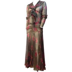 20s Grey and Pink Floral Chiffon Bias Cut Dress | From a collection of rare vintage day dresses at https://www.1stdibs.com/fashion/clothing/day-dresses/