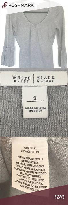 a155202f36f White House Black Market Silk Cotton Gray Top White House Black Market  Blouse Top Flared Long