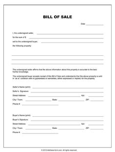 Superior Printable Sample Equipment Bill Of Sale Template Form