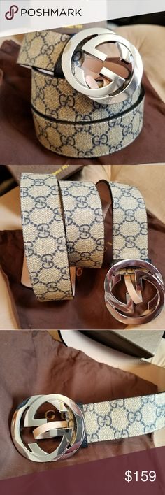 😍Authentic Gucci Belt Blue & Tan Monogram Print 😍Authentic Gucci Belt Blue & Tan Monogram Print with Silver Buckle. Hot! Comes with tags, dust bag and box. Fast Same Day Shipping via USPS Priority. All reasonable offers considered.  *No Trades. If the listing is up its available* Gucci Accessories Belts