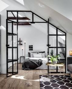 1001 ideas for the modern top floor apartment - attic apartment set up examples black white design bed bedroom - : ? 1001 ideas for the modern top floor apartment - attic apartment set up examples black white design bed bedroom - House Design, Industrial Interior Design, Interior Design, House Interior, Home, Modern Studio Apartment Ideas, Interior, Bedroom Design, Home Bedroom