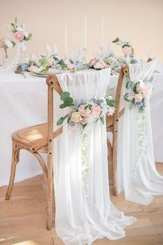Decorate your wedding aisle and chairs with Lings Moment's wedding floral aisle décor. We provide the elegant and inexpensive chair decorations for your wedding. Wedding Chair Decorations, Wedding Chairs, Wedding Chair Covers, Wedding Table Garland, Elegant Party Decorations, Wedding Tablecloths, Light Blue Flowers, Rustic Wedding, Long Table Wedding