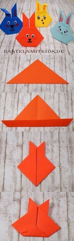 Easter bunnies make tinker with children and toddlers - Evi Osterhasen basteln mit Kindern und Kleinkindern Origami for beginners. Make light easter bunnies. For children over 2 years to fold. Bunny Crafts, Easter Crafts For Kids, Toddler Crafts, Diy For Kids, Easter Ideas, Summer Crafts, Fall Crafts, Origami Diy, Kids Origami