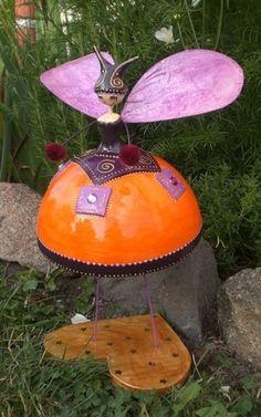 Blog de sandrinemerriaux :Sandrine Merriaux . Créations en papier mâché, fée orange