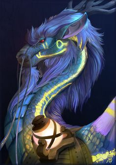 """Gorgeous lavender and turquoise dragon. Love glowing lantern and lighting effects. Love the mane - so luxuriously silky. (""""Aviros"""" by Raironu.deviantart.com on @deviantART)"""