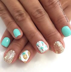 Pineapples & Palm Trees on Glitter and Mint Nails – Fancy Nails Cute Summer Nail Designs, Cute Summer Nails, Summer Beach Nails, Nails Summer Colors, Mint Nail Designs, Pedicure Summer, Tropical Nail Designs, Tropical Nail Art, Spring Colors