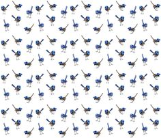WRENS Scattered on White fabric by thistleandfox on Spoonflower - custom fabric