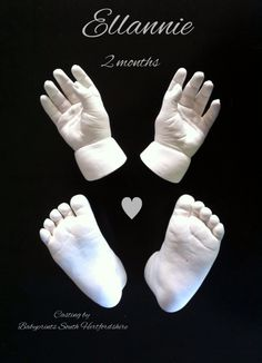 Baby hands beautifully cast by Babyprints South Hertfordshire. It takes experience & practise to achieve this quality of cast every time. By Babyprints.co.uk