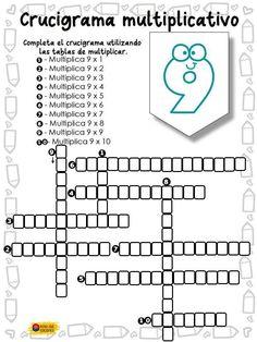 Crucigrama multiplicativo - Imagenes Educativas Math Worksheets, Math Activities, Decimal, Fill In Puzzles, Class Games, Sistema Solar, Mathematics, Writing, Education