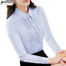 Elegant light blue white shirt women long-sleeve plus size top slim work wear office ladies formal Hollow Out chiffon blouse(China (Mainland))