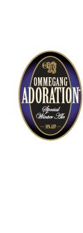 Ommegang ADORATION, brewed in the authentic style of Belgian winter, or noel beer, is dark, strong, malty and assertively spiced.  Best sipped before a roaring fire, or on a sleigh ride over the hills to Grandma's house, it would also be a tasty accompaniment to dark roasts and wild game. The dark malts give it lush, malty flavors and aromas, complemented by the five spices, including coriander, cumin, mace, cardamom and grains of paradise. Hopping is modest, as befits such a beer.