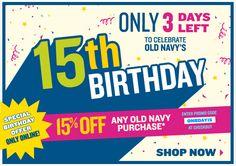 Old Navy 15th birthday