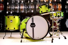 Mapex MyDentity Custom 4pc Maple Drum Shell Pack - Lime Green Sparkle  Shell pack includes 20x20 kick, 10x8 rack tom (with tom arm and multi-clamp), 15x15 floor tom, and 14x6 snare. Lime green sparkle wrap with satin black hardware. Drums only; no other stands/hardware included. Purchase Here:  http://www.drumcenternh.com/drums/drum-sets/mapex-mydentity-custom-4pc-maple-drum-shell-pack-lime-green-sparkle.html