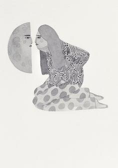 Moon By Kreh Mellick, Gouache on paper