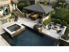 pool with firepit, waterfall and outdoor kitchen - Bing Images