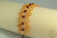 Frywolitka - szeroka bransoletka z koralikami / Tatting - wide bracelet with beads