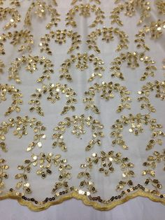 "GOLD MESH W/ COREDED FLORAL SEQUINS BRIDAL LACE FABRIC 50""  WIDE 1 YD"
