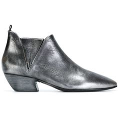 Marsèll Pointed Toe Booties (56.480 RUB) ❤ liked on Polyvore featuring shoes, boots, ankle booties, metallic, pointed toe ankle booties, pointy toe booties, genuine leather boots, leather ankle booties and pointed toe boots