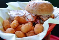 Chedda Burger's The Silly Round Eye, featuring beef patty, Swiss, pastrami, kimchi and fry sauce with Chedda tots. (Francisco Kjolseth | The Salt Lake Tribune)