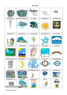 Wetter - Bilderwörterbuch Early Intervention Program, Deutsch Language, Germany Language, German Language Learning, German Words, Learn German, Preschool Math, Kindergarten, Educational Programs