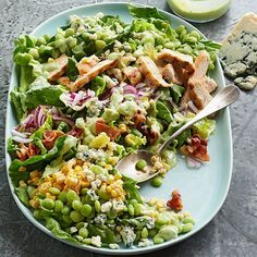 This hearty Succotash Salad with Buttermilk Avocado Dressing is ideal for summer get-togethers. More recipes from the magazine: http://www.bhg.com/recipes/from-better-homes-and-gardens/june-2013-recipes/?socsrc=bhgpin051813succotashsalad=2