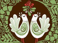 birds under mistletoe