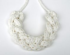 Braided Statement Necklace  Upcycled T Shirt Yarn by pinkpoppyseed, $28.00