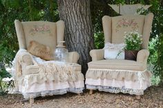 "Rita and I worked on these two chairs. Hand painted roses, burlap,& pink ruffles. Ready for the Vintage Marketplace ""Rustic Romance"" show, Sept. 7th & 8th 2012"