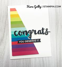 Fun rainbow color graduation card using Sunshine Wishes Thinlits from Stampin' Up!. Visit www.iStampin.com to more details. Love Rainbow, Rainbow Colors, Graduation Cards, Handmade Cards, Card Stock, Stampin Up, Sunshine, Love You, Paper Crafts