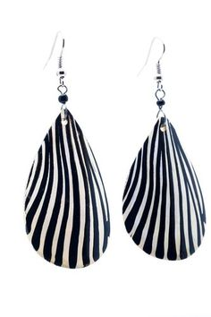 "African Up cycled Bovine Hand painted Zebra Horn Earrings-(Off White/Black)-Womens.  Handmade in Africa, hangs 2.5"" long.  NOTE: No animals were harmed in the making of this product.  Great unique gift!  Please review shipping charges and details."