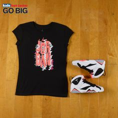 "This one's for the girls. Check out the Jordan Retro 7 ""Hot Lava"" hook up! Apparel is in #KidsFootLocker stores now and the kicks release on Saturday. #GOBIG"