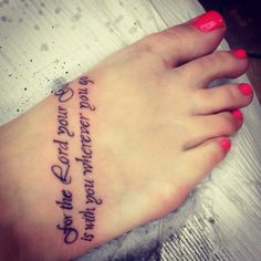 Foot tattoo Joshua 1:9