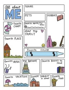 Doodle Notes - All About ME FREEBIE by Science & Math Doodles All About Me Poster, All About Me Book, First Day Of School Activities, Preschool Activities, Icebreaker Activities, All About Me Worksheet, All About Me Printable, All About Me Project, All About Me Preschool