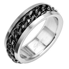 Stainless Steel with IP Black Chain Spinning Center Band Ring Size 9 - 15 R122 * Free USA Shippping *