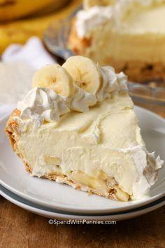 Banana Pie Recipe, Homemade Banana Cream Pie, Banana Recipes, Banana Cream Pie Recipe With Pudding, Banana Cream Pie Cake, Homemade Pies, Banana Pudding, Banana Dessert, Pie Dessert